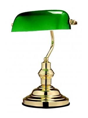 Globo, Antique, Asztali banklámpa, réz, zöld üveg,LxH:250x360, exkl. 1xE27 60W 230V, 2491