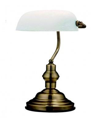 Globo, Antique, Asztali banklámpa, bronz, üveg, LxH:250x360, exkl. 1xE27 60W 230V, 2492