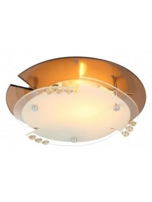 Globo, Armena, Mennyezeti lámpa,  borostyán színű üveg,K5 kristály dekor D:250, H:95, exkl. 1xE27 ILLU 60W 230V, 48083