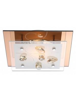 Globo, Ayana, Mennyezeti lámpa, üveg, K5 kristály dekor,LxBxH:240x240x85, exkl. 1xE27 ILLU 40W 230V, 40412