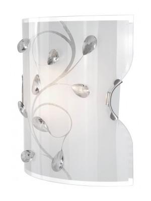Globo, Burgundy, Fali lámpa, matt króm, üveg opál,K5  kristály, LxBxH:200x110x220, AL:110, exkl. 1xE27 ILLU 60W 230V, 40
