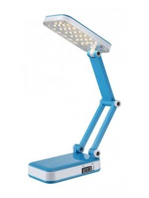 Globo, Clap, Asztali lámpa, akril kék - fehér,összecsukható, LxBxH:350x130x375, inkl. 1xLED 2,5W 5V, 170lm, 3000K,USB cs