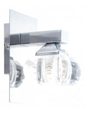 Globo, Cubus, Spotlámpa,  fényes króm,üveg, 1x G9 33W kapcsolóval, LxBxH:120x100x150, inkl. 1xG9 33W 230V, 5692-1W