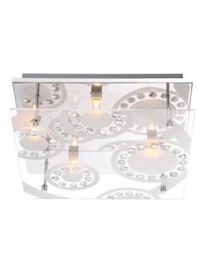 Globo, Dianne, Mennyezeti lámpa,  króm, üveg, K5 kristály, LxBxH:300x300x90, inkl. 4xG9 33W 230V, 48690-4