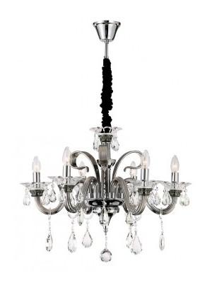 Globo, Dunja, Csillár króm,K9 kristály,  füstszínű üveg,D:700, H:1155, exkl. 6xE14 40W 230V, 64104-6