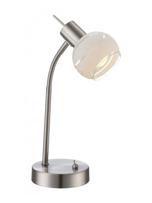 Globo, Elliott, Asztali lámpa,  mattkróm,üveg,LxBxH:217x12x340, inkl. 1xE14 4W 230V, 400lm, 3000K, 54341-1T