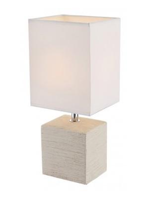 Globo, Geri, Asztali lámpa, kerámia bézs, textil fehér,  LxBxH:130x110x290, exkl. 1xE14 40W 230V, 21675