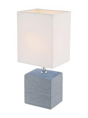 Globo, Geri, Asztali lámpa, kerámia szürke, textil fehér, LxBxH:130x110x290, exkl. 1xE14 40W 230V, 21676