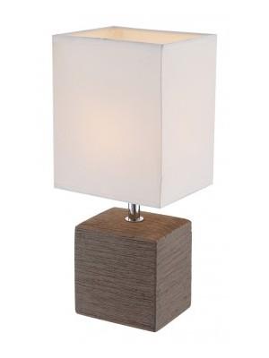 Globo, Geri, Asztali lámpa, kerámia barna, textil fehér,  LxBxH:130x110x290, exkl. 1xE14 40W 230V, 21677