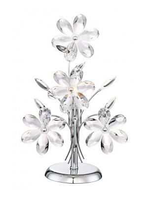 Globo, Juliana, Asztali lámpa,  króm,akril virág,BxH:235x370, exkl. 1xE14 40W 230V, 5136