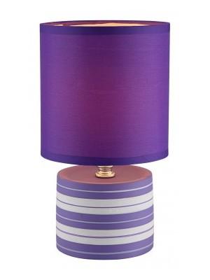 Globo, Laurie, Kerámia asztali lámpa, lila, csíkos  1xE14 40W 230V,D:140, H:260, , 21661