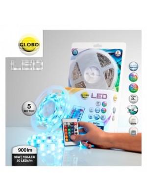 Globo, Led band, Led szalag, LED 150xRGB 0,18W vágható,LxBxH:5000x10x3, inkl. 150xRGB LED 0,16W 12V, színes, 440lm, távi