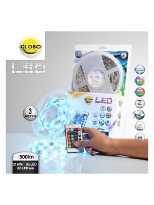 Globo, Led band, Led szalag, LxBxH:3000x10x3, inkl. 90xRGB LED 0,18W 12V, színes, 350m, IP 21, 38991