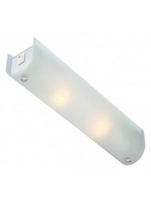 Globo, Line, Tükörvilágító lámpa,  króm, üveg szatén  búra,LxBxH:350x70x75, AL:75, exkl. 2xE14 40W 230V,kapcsolóval, 410