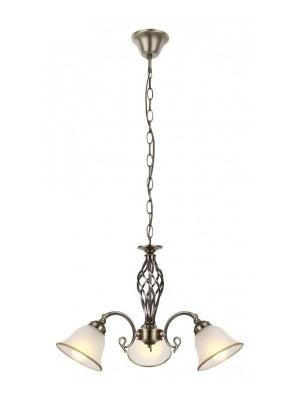 Globo, Odin, Csillár antik bronz,  üveg, D:600, H:1200, exkl. 3xE27 60W 230V, 60208-3