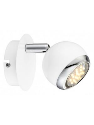 Globo, Oman, Fali lámpa, króm,fehér,  GU10 LED, LxB:100x118, AL:130, inkl. 1xGU10 LED 3W 230V, 250lm, 3000K, 57882-1