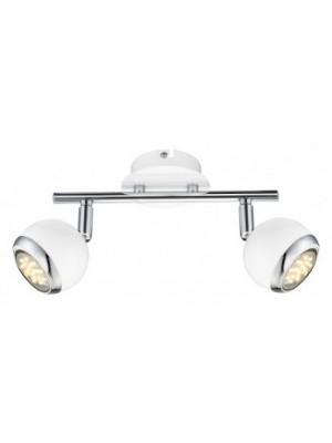 Globo, Oman, Fali lámpa, króm,fehér, GU10 LED, LxH:250x150, inkl. 2xGU10 3W 230V, 250lm, 3000K, 57882-2