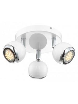 Globo, Oman, Mennyezeti lámpa,  króm,fehér, GU10 LED, D:180, H:130, inkl. 3xGU10 3W 230V, 250lm, 3000K, 57882-3