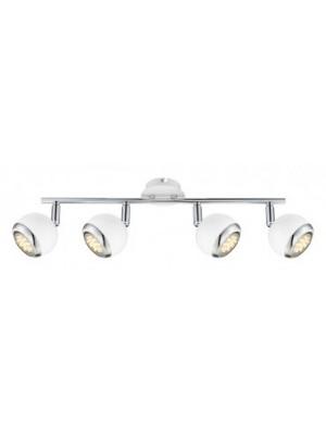 Globo, Oman, Mennyezeti lámpa,  króm,fehér, GU10 LED, LxH:550x150, inkl. 4xGU10 3W 230V, 250lm, 3000K, 57882-4