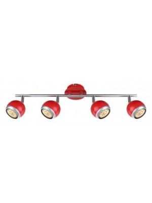 Globo, Oman, Mennyezeti lámpa,  piros, GU10 LED, BxH:550x150, inkl. 4xGU10 3W 230V, 250lm, 3000K, 57885-4