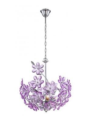 Globo, Purple, Függeszték króm,akril lila virág. D:380, H:1350, exkl. 3xE14 40W 230V, 5141