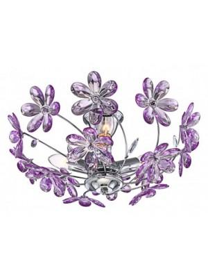 Globo, Purple, Mennyezeti lámpa,  króm,akril lila virág. D:420, H:190, exkl. 3xE14 40W 230V, 5142