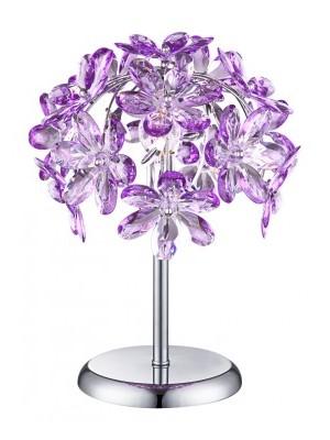 Globo, Purple, Asztali lámpa,  króm,akril lila virág,D:280, H:360, exkl. 1xE14 40W 230V, 5142-1T