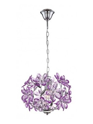 Globo, Purple, Függeszték króm,akril lila virág  D:340, H:880, exkl. 1xE27 60W 230V, 5143