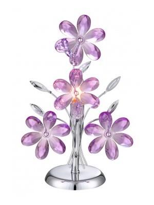 Globo, Purple, Asztali lámpa,  króm,akril lila virág,LxH:240x370, exkl. 1xE14 40W 230V, 5146