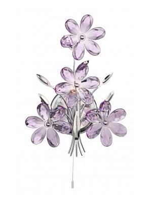 Globo, Purple, Falikar króm,akril lila virág,LxBxH:235x130x330, AL:255, exkl. 1xE14 40W 230V, 5147