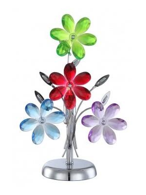 Globo, Rainbow, Asztali lámpa,  króm,akril tarka virág,BxH:235x370, exkl. 1xE14 40W 230V, 51530-1T