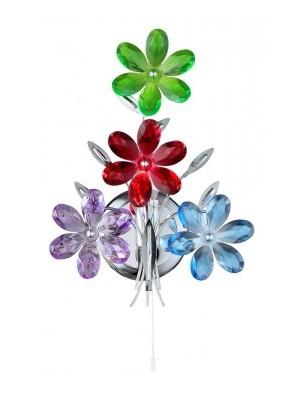 Globo, Rainbow, Falikar króm,akril tarka virág,BxH:235x460, AL:130, exkl. 1xE14 40W 230V, 51530-1W
