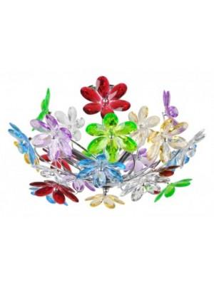 Globo, Rainbow, Mennyezeti lámpa,  króm,akril tarka virág. D:460, H:270, exkl. 3xE14 40W 230V, 51530-3