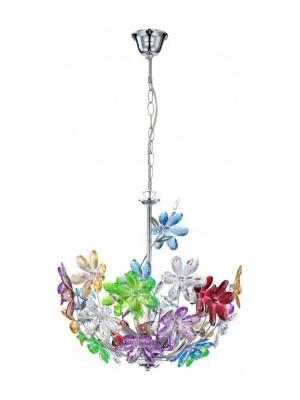 Globo, Rainbow, Függeszték króm,akril tarka virág. D:380, H:1350, exkl. 3xE14 40W 230V, 51530-3H