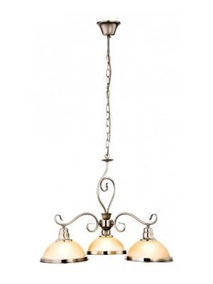 Globo, Sassari, Csillár bronz, antik réz, üveg gyertyán sárga D:570, H:1360, exkl. 3xE27 60W 230V, 6905-3