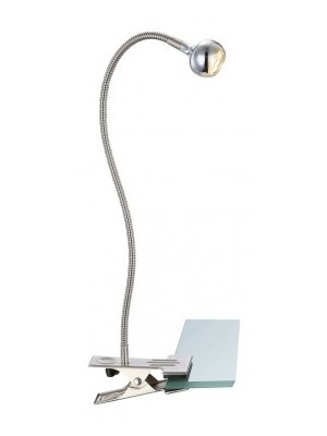 Globo, Serpent, Csipeszes Asztali lámpa,  szatén króm, BxH:430x480, inkl. 1xLED 3W 3,6V, 150lm, 3000K, 24109K