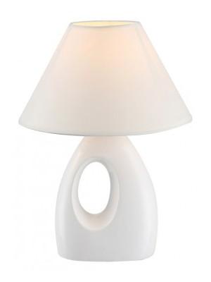 Globo, Sonja, Asztali lámpa, kerámia fehér, textil fehér,, D:200, H:260, exkl. 1xE14 40W 230V, 21670