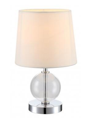 Globo, Volcano, Asztali lámpa, króm, üveg,textil fehér ernyő, 1xE14 40W 230V,D:180, H:300,, 21667