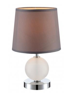 Globo, Volcano, Asztali lámpa, króm,  üveg,textil ezüst barna ernyő,1xE14 40W 230V,D:180, H:300,, 21669