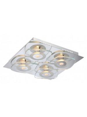 Globo, Zarima, Mennyezeti lámpa,  króm,üveg, LxBxH:310x310x65, inkl. 4xLED 4,5W 9V, 360lm, 3000K, 41710-4