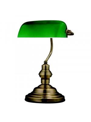 Globo, Antique, Asztali lámpa, zöld üveg, bronz váz, 24934
