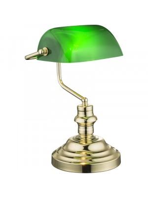 Globo, Antique, Asztali lámpa réz, zöld akril 2491K