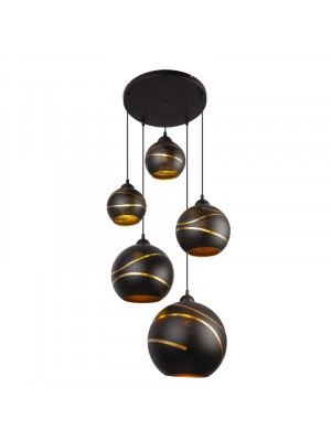 Globo, Lommy, Függeszték fém fekete, fekete-arany üveg búrával, 54005-5H