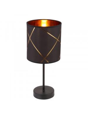 Globo, Bemmo, Asztali lámpa, fém fekete alaplap, fekete-arany szövet búrával 15431T