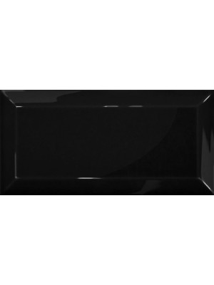 Csempe, Cerámica Álbaro Metro csempe Negro Biselado Brillo 10*20 cm I.o.