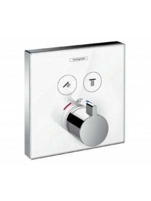 Hansgrohe, ShowerSelect Glass, falsík alatti termosztátos csaptelep,, 2 fogyasztóhoz, fehér, 15738400