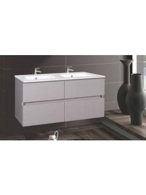 Fürdőszobabútor, Wellis, Elois Grey 120, 4 fiókos, komplett mosdós szekrény
