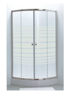 HTB, zuhanykabin, íves, 80x80, csíkos üveg, króm keret, 5 mm (8130 stripe), tálcával és szifonnal