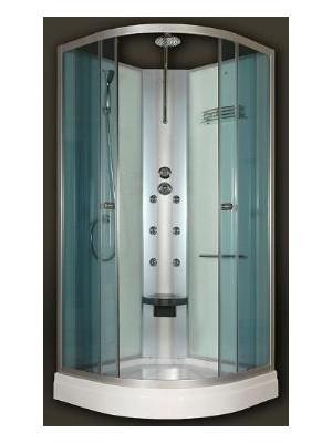 Sanimix, Íves hidromasszázs zuhanykabin üveg hátfallal 90x90x210 cm, 22.180