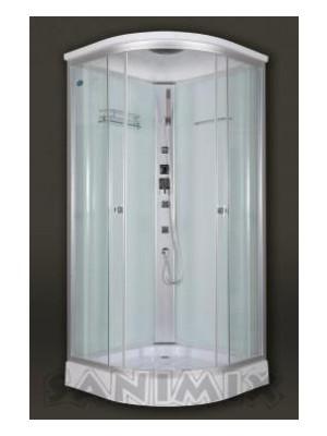 Sanimix, Hidromasszázs zuhanykabin fehér hátfallal 90x90x215 cm, 22.1032